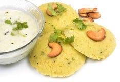 Rava idli with chutney. On black background Stock Image