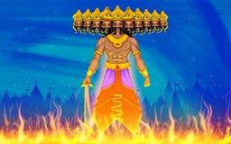 Ravan Dahan för Dusshera beröm stock illustrationer