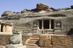 Ravan Pahadi洞, Aihole 免版税库存照片