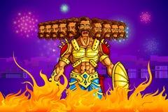 Ravana burning in fire on Dussehra Stock Photos