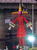 Ravana Effigy. People in India ready an effigy of Ravana to be burnt on the occassion of Dussehra Stock Photos