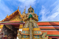 Ravana giant statues guarding the front door horizontally. A giant statue of Ravana Temple of the Emerald Buddha in Thailand Royalty Free Stock Image