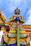 Ravana giant statues guarding the front door. A giant statue of Ravana Temple of the Emerald Buddha in Thailand Royalty Free Stock Images