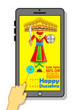 Ravana for Happy Dussehra mobile application sale promotion Stock Images