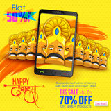 Ravana for Happy Dussehra mobile application sale promotion Stock Photos