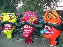 Ravana head effigies for Dussehra festival. Several Ravana head effigies for Dussehra festival in India Royalty Free Stock Photo