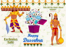 Ravana offering Happy Dussehra Sale Stock Image