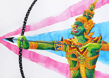 Ravana ten face shooting arrow bow with Thai flag background. Ravana ten face shooting arrow graphic bow with Thai flag background Royalty Free Stock Image