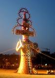 Ravana, Vijayadashami Dashahara. Effigy of Ravana burns Stock Photos
