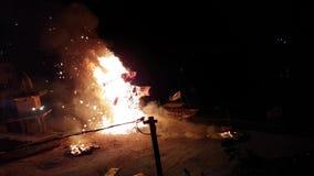 Ravanabeeltenis het Branden bij Dussehra-Festival in Rishikesh stock footage