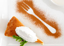 Ravani cake. In herb syrup with vanilla ice cream royalty free stock photography