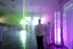 Rave Lights. This image shows the lights and blurred motion of people at a rave Stock Photos