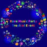 Rave music party event hand-drawn elements. Rave Party hand-drawn doodle elements with light effect vector illustration. Will be used for banner, poster Stock Photo