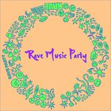 Rave music party event hand-drawn elements. Rave Party hand-drawn doodle elements with light effect vector illustration. Will be used for banner, poster Royalty Free Stock Photo