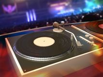 Rave party. Turntables with DJ mix desk, rave party Royalty Free Stock Photography