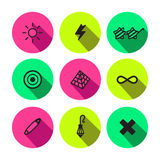 Rave, punk and glam different symbols vector icon set Royalty Free Stock Image