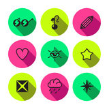 Rave, punk, luxury and glam different symbols vector icon set Stock Photo