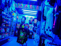 Rave shop in Amsterdam. Shop in Amsterdam selling bright and florescent clothes for raves and parties Stock Image