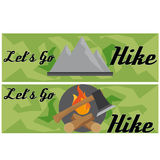 Ravel And Hike Flat Banner With Axe And Mountain For Travel Stock Image