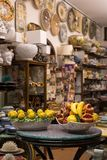 Ravello, Amalfi Coast, Italy. Shop selling colourful ceramics to tourists. stock photos