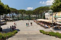 Tourists enjoy the atmosphere of Ravello`s Piazza Duomo. Amalfi Coast. Italy royalty free stock images