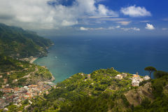 Ravello landscape view looking towards Maiori and Minori. Beautiful turquoise seas lap at white sandy beaches on the Amalfi Coast Royalty Free Stock Photography
