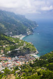 Ravello view looking towards Maiori and Minori. Beautiful turquoise seas lap at white sandy beaches on the Amalfi Coast Royalty Free Stock Image