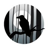 Raven in the background of the moon in the dark forest. Vector illustration Royalty Free Stock Images