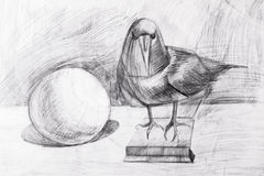 Raven and the ball drawn with a pencil Royalty Free Stock Images