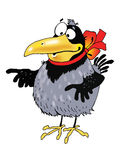 Raven bird funny cartoon character drawing Royalty Free Stock Photo
