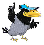 Raven bird funny cartoon character drawing. Beak bow clever Royalty Free Stock Photo