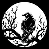 Raven on branch against the moon vector illustration Royalty Free Stock Photography
