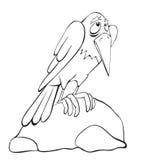Raven contour. Raven on the stone. Contour Royalty Free Stock Photo