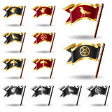 Raven, crow, and pentagram icons on flag buttons. Raven, crow, and pentagram icons on royal vector flag buttons in red/gold, black/gold, and black/silver Royalty Free Stock Photography