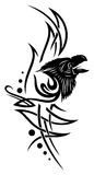 Raven, crow. Tribal tattoo with raven, crow Royalty Free Stock Photography