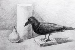 Raven, a cylinder and a pear drawn with a pencil Royalty Free Stock Photography