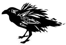 Raven design. Black raven bird tribal design - vector decorative animal on white Stock Images