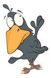 Raven from fairy tale Cartoon. Black raven with the big yellow beak Stock Photography