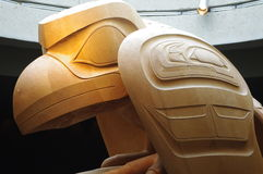 The Raven and the First Men. Sculpture in yellow cedar by Bill Reid seen at Museum of Anthropology (University of British Columbia) Vancouver, Canada Stock Image