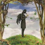 Raven in forest. Illustration show Raven in garden Stock Images