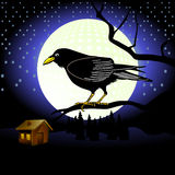 Raven and full moon. Illustration of raven bird on branch at night with full moon and house in background Stock Image