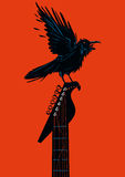 Raven with a guitar. Black crown is seating on a guitar riff. Rock poster template vector illustration