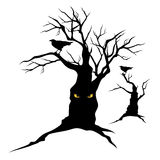 Raven and halloween tree. Black raven sitting on creepy halloween tree with evil eyes - monster vector silhouettes Stock Photography