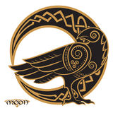 Raven hand-drawn in Celtic style, on the background of the Celtic moon ornament. Isolated on white, vector illustration Stock Illustration