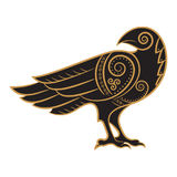 Raven hand-drawn in Celtic style. Isolated on white, vector illustration Royalty Free Stock Photography