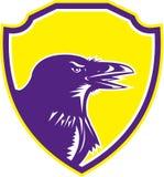 Raven Head Woodcut Retro Shield Immagini Stock