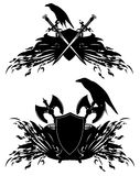 Raven heraldic shields Stock Photography