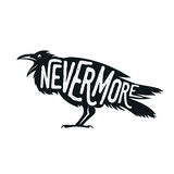 Raven illustration with word Nevermore Stock Image