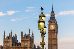 Raven on lampost at Houses of Parliament in early winter morning Stock Image