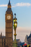 Raven on lampost at Houses of Parliament in early winter morning Royalty Free Stock Photos